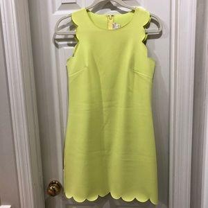 J Crew Neon Yellow Scalloped Dress